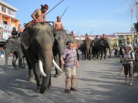 Elephants-lineup.jpg /Surin...The Elephant Festival pix/N.E. Thailand Motorcycle Trip Report Forums/  - Image by: