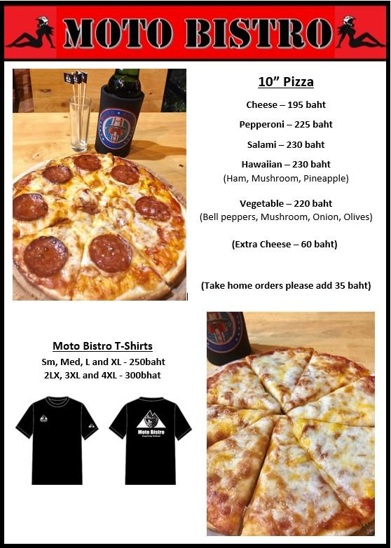 MB Pizza menu with T-shirt.