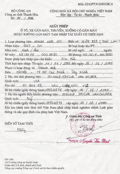Vietnam - motorcycle - letter of permission.